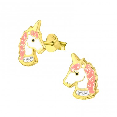 Golden Unicorn with glitter and crystal - 925 Sterling Silver Ear Studs With Enamel Colors A4S41747