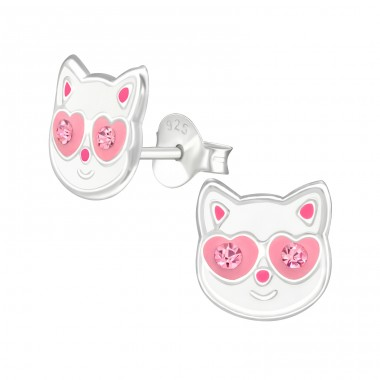 Cat with pink crystal eyes - 925 Sterling Silver Ear Studs With Enamel Colors A4S42018