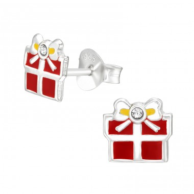Red Gift Box - 925 Sterling Silver Ear Studs With Enamel Colors A4S42019