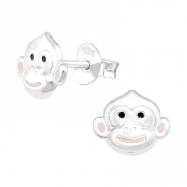 Monkey face - 925 Sterling Silver Ear Studs With Enamel Colors A4S42022
