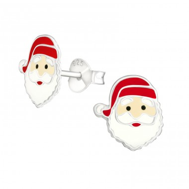 Santa Claus - 925 Sterling Silver Ear studs with enamel colors A4S42157