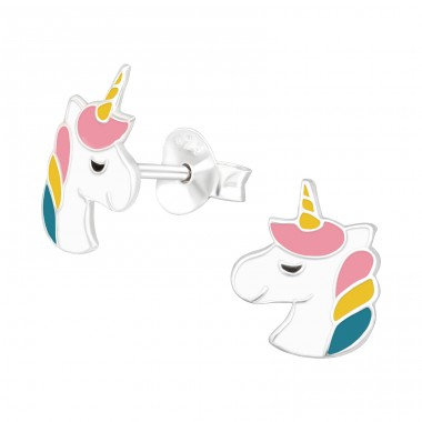 Unicorn - 925 Sterling Silver Ear studs with enamel colors A4S42170