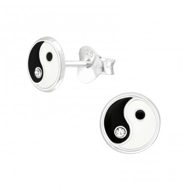 Yin-Yang symbol - 925 Sterling Silver Ear Studs With Enamel Colors A4S42411