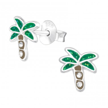 Coconut Tree - 925 Sterling Silver Ear studs with enamel colors A4S42412