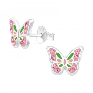Pink crystals butterfly - 925 Sterling Silver Ear Studs With Enamel Colors A4S42418