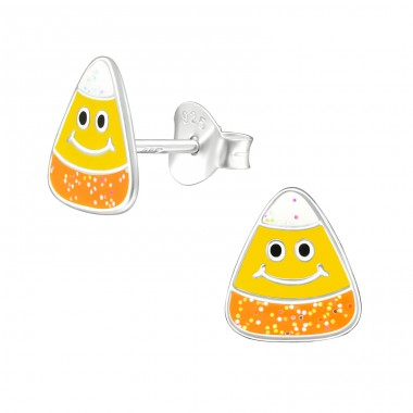 Candy Corn - 925 Sterling Silver Ear studs with enamel colors A4S42421