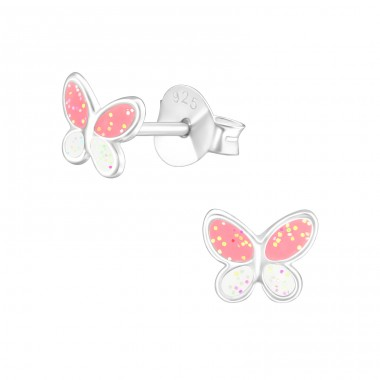White & Pink Butterfly - 925 Sterling Silver Ear Studs With Enamel Colors A4S42423