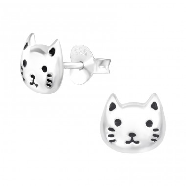 Cat - 925 Sterling Silver Ear studs with enamel colors A4S42545