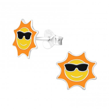 Sun with glasses - 925 Sterling Silver Ear Studs With Enamel Colors A4S42547