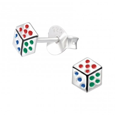Dice - 925 Sterling Silver Ear studs with enamel colors A4S42548