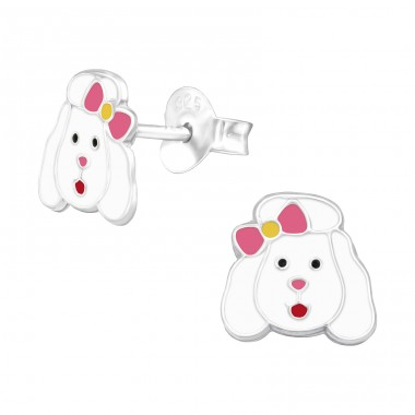 Dog with a bow - 925 Sterling Silver Ear Studs With Enamel Colors A4S42749