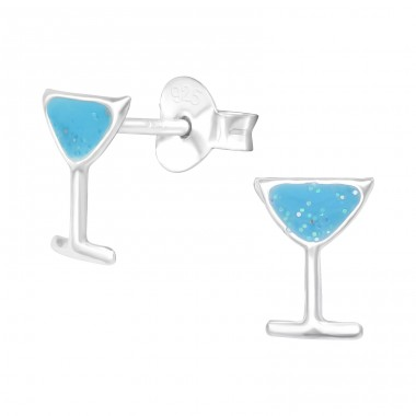 Cocktail Glass with glitter - 925 Sterling Silver Ear Studs With Enamel Colors A4S42755