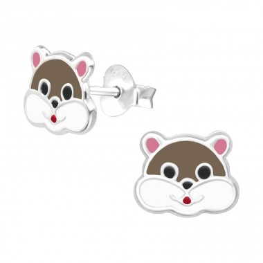 Squirrel - 925 Sterling Silver Ear studs with enamel colors A4S42756