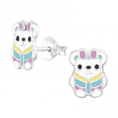 Bear with a winter jacket - 925 Sterling Silver Ear Studs With Enamel Colors A4S43037