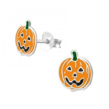 Pumpkin - 925 Sterling Silver Ear studs with enamel colors A4S4432