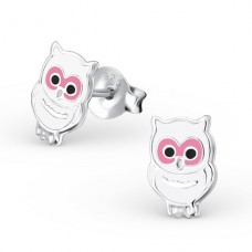 Owl - 925 Sterling Silver Colorful ear studs for kids A4S4437