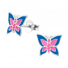 Butterfly - 925 Sterling Silver Colorful ear studs for kids A4S4623