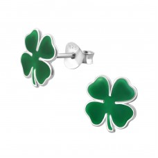 Shamrock - 925 Sterling Silver Colorful ear studs for kids A4S4670