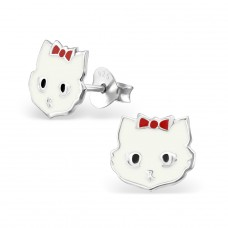 Cat - 925 Sterling Silver Colorful ear studs for kids A4S4719