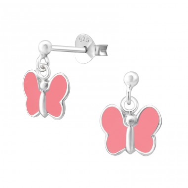 Butterfly - 925 Sterling Silver Colorful ear studs for kids A4S4790