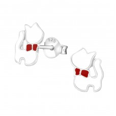 Cat - 925 Sterling Silver Colorful ear studs for kids A4S4860