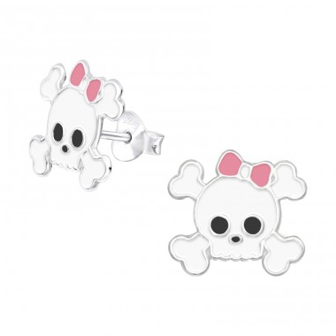 Skull - 925 Sterling Silver Ear studs with enamel colors A4S5562