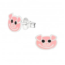 Pig - 925 Sterling Silver Colorful ear studs for kids A4S5795