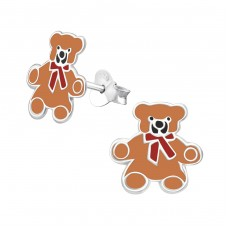 Teddy Bear - 925 Sterling Silver Colorful ear studs for kids A4S6797