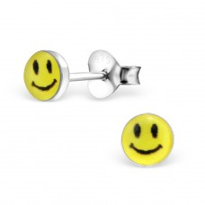 Smiley Face - 925 Sterling Silver Colorful ear studs for kids A4S6833