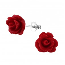 Rose - 925 Sterling Silver Colorful ear studs for kids A4S6882