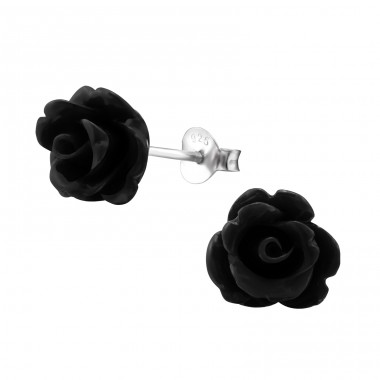 Rose - 925 Sterling Silver Ear studs with enamel colors A4S6882
