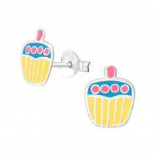 Cupcake - 925 Sterling Silver Colorful ear studs for kids A4S7233