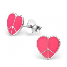 Heart With Peace Symbol - 925 Sterling Silver Colorful ear studs for kids A4S7351