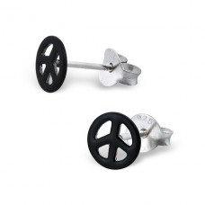 Peace Sign - 925 Sterling Silver + Plastic Colorful ear studs for kids A4S7399