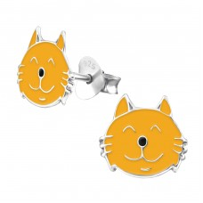 Cat - 925 Sterling Silver Colorful ear studs for kids A4S959