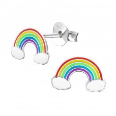 Rainbow - 925 Sterling Silver Colorful ear studs for kids A4S960