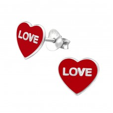 Love Heart - 925 Sterling Silver Colorful ear studs for kids A4S961