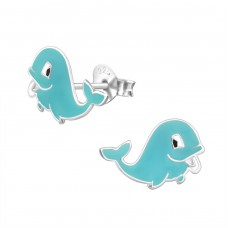 Whale - 925 Sterling Silver Colorful ear studs for kids A4S963