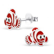 Fish - 925 Sterling Silver Colorful ear studs for kids A4S964