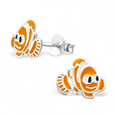 Fish - 925 Sterling Silver Colorful ear studs for kids A4S965