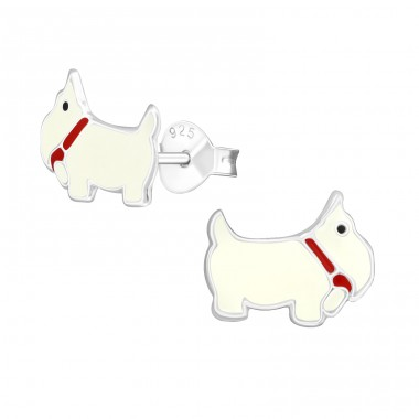 Dog - 925 Sterling Silver Colorful ear studs for kids A4S967