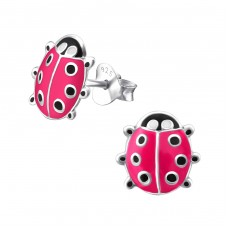 Ladybug - 925 Sterling Silver Colorful ear studs for kids A4S970