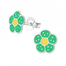 Flower - 925 Sterling Silver Colorful ear studs for kids A4S971