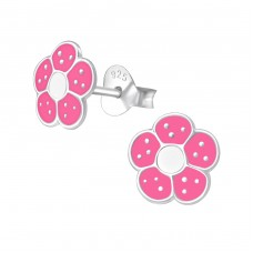 Flower - 925 Sterling Silver Colorful ear studs for kids A4S972
