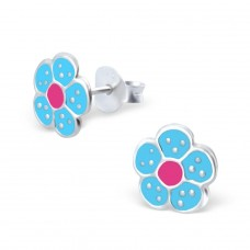 Flower - 925 Sterling Silver Colorful ear studs for kids A4S973
