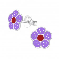 Flower - 925 Sterling Silver Colorful ear studs for kids A4S975