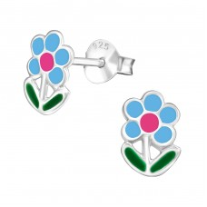 Flower - 925 Sterling Silver Colorful ear studs for kids A4S977