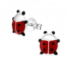 Ladybug - 925 Sterling Silver Colorful ear studs for kids A4S9788