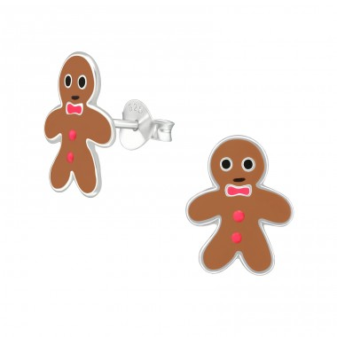 Gingerbread - 925 Sterling Silver Colorful ear studs for kids A4S9789