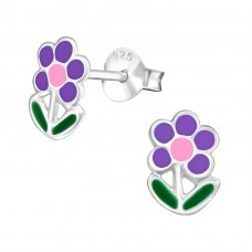 Flower - 925 Sterling Silver Colorful ear studs for kids A4S979